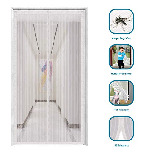 innotree 2020 Upgraded Magnetic Screen Door with 32 Magnets Heavy Duty Mesh Curtain, Fits Doors Up to 39'x82', Dogs Pets Friendly Door Screen, White