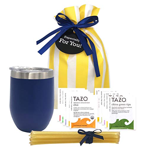 Tea Gift Set for Tea Lovers - Includes Double Insulated Tea Cup 12 Uniquely Blended Teas and All Natural Honey Straws   Tea Gift Sets for Women Men   Tea Gifts Bag Presented in Beautiful Gift Bag