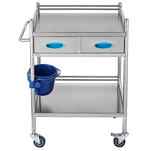 Lab Serving Cart,Stainless Steel Rolling Cart, Two-Story lab cart,with Two Drawers for lab Equipment,Use Grade I Stainless Steel
