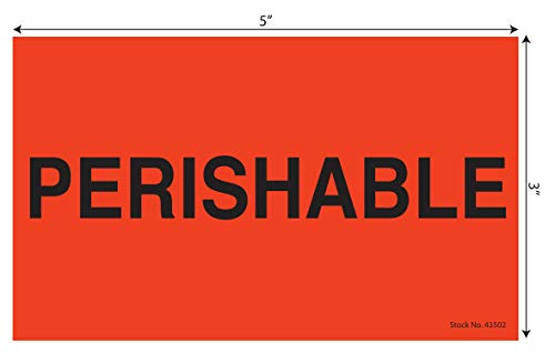 Tabbies Neon Red 3' x 5' PERISHABLE Shipping Stickers | 500 Labels/Roll | Perishable Package Handling Labels for Shipping, Warehouse