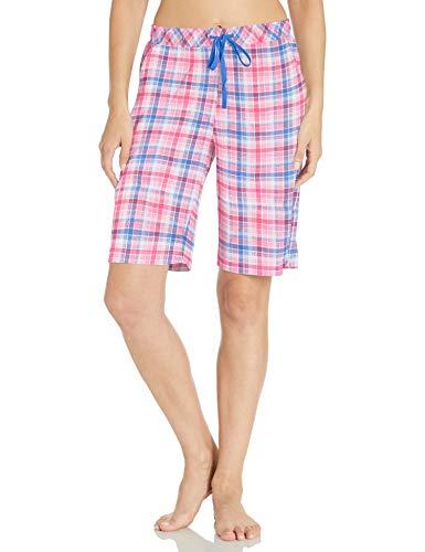 Karen Neuburger Women's Pajamas Cropped Pj Bermuda Short, Plaid Coral Pink, Large