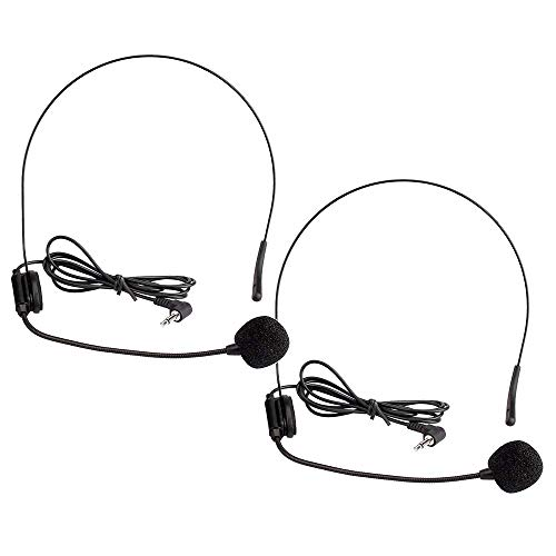EXMAX 2 pcs 3.5mm Headset Microphone Flexible Wired Boom for Belt Pack Mic Systems Tour Guide System Voice Amplifier Teachers Speaker Coach - 2 pack
