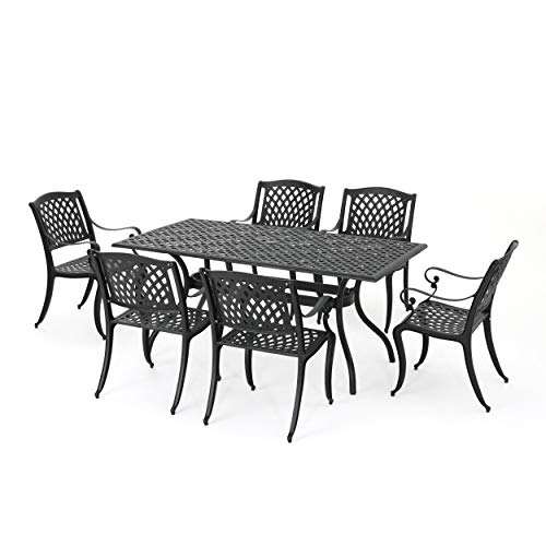 Christopher Knight Home 295848 Marietta Cast Aluminum Outdoor Dining Set, 7 Piece, Black Sand