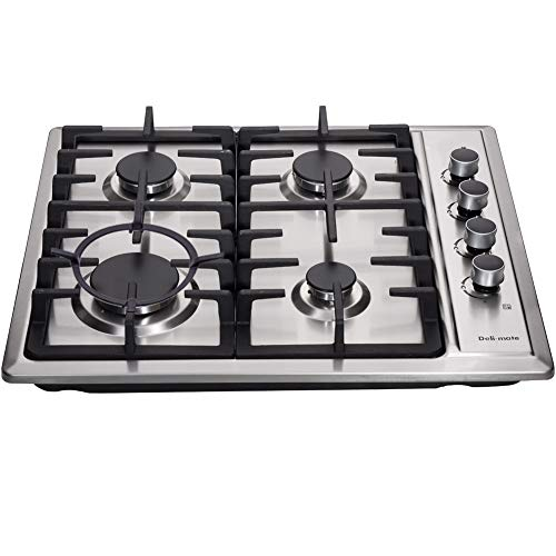 Deli-mate 24' Gas Cooktop Dual Fuel 4 Sealed Burners Stainless Steel drop-In Gas Hob Gas Burner DM425-SA01Z Gas Cooker