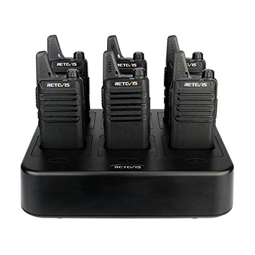 Retevis RT22 Walkie Talkies Rechargeable Hands Free Channel Lock 2 Way Radios Two-Way Radio(6 Pack) with 6 Way Multi Gang Charger