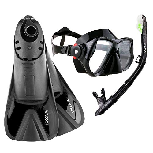 WACOOL Snorkeling Package Set for Adults, Anti-Fog Coated Glass Diving Mask, Snorkel with Silicon Mouth Piece,Purge Valve and Anti-Splash Guard w/Travel Short Swim Fins (Black S)