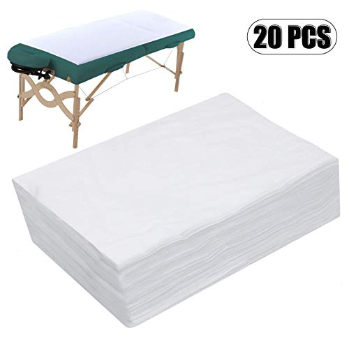 AQUEENLY Spa Bed Sheets Disposable Massage Table Sheet Waterproof Bed Cover Non-woven Fabric, 31' x 67', 20 pcs