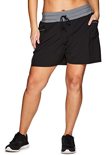 RBX Active Women's Plus Size Woven Short w/Knit Waist Black 2X