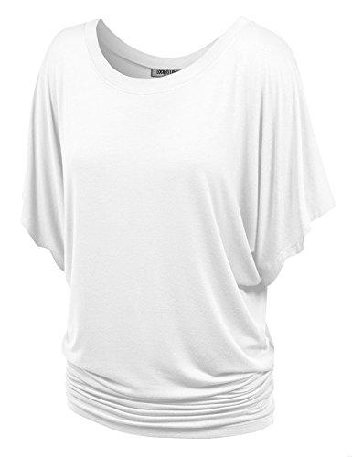 WT742 Womens Boat Neck Short Sleeve Dolman Drape Top S White