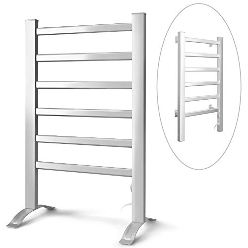 INNOKA 2-in-1 Towel Warmer and Drying Rack, Heated Towel Rack, Free Standing & Wall Mount (UL Certified) with 6 Bars & Aluminum Frame for Bathroom