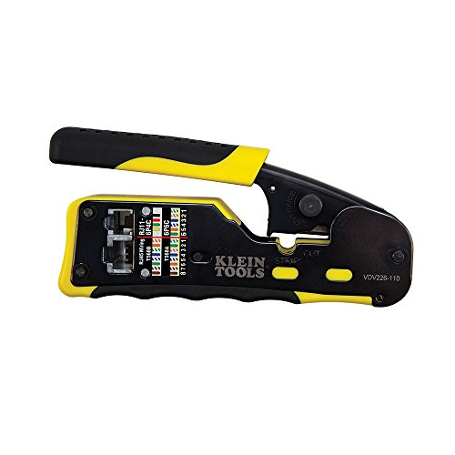 Klein Tools VDV226-110 Ratcheting Modular Cable Crimper / Wire Stripper / Wire Cutter, for RJ11/RJ12 Standard and RJ45 Pass-Thru Connectors