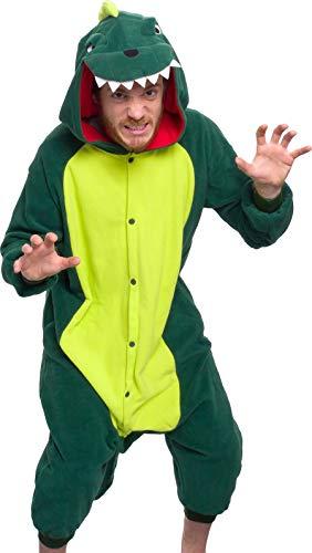 Silver Lilly Unisex Adult Pajamas - Plush One Piece Cosplay Animal Dinosaur Costume (Dinosaur, M)