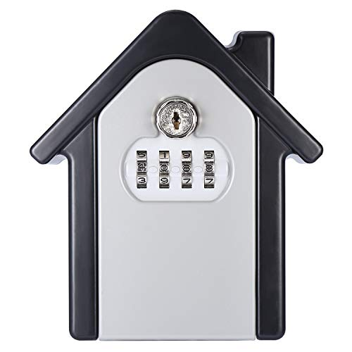 Allnice Key Lock Box, Wall Mounted Lock Box with 4-Digit Combination Resettable Code