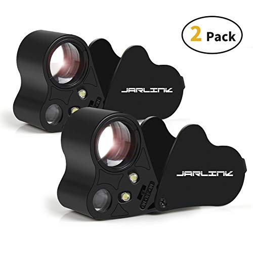 JARLINK 2 Pack 30X 60X Illuminated Jewelers Eye Loupe Magnifier, Foldable Jewelry Magnifiers with Bright LED Light for Gems, Jewelry, Coins, Stamps, etc (Black)