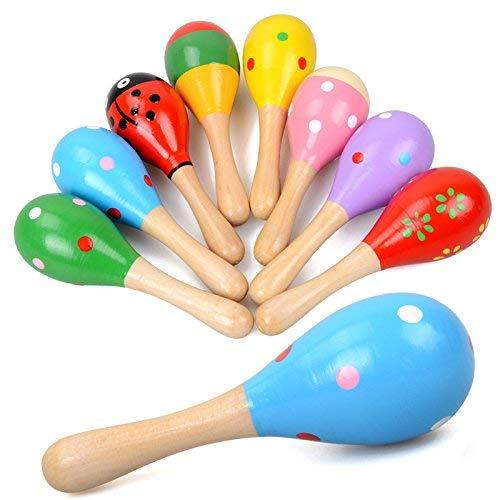 E-lishine Mini Wooden Maracas Rattles Egg Shaker Kids Musical Party Favor Kid Baby Shaker Sand Hammer Toy (Random Color Pattern)