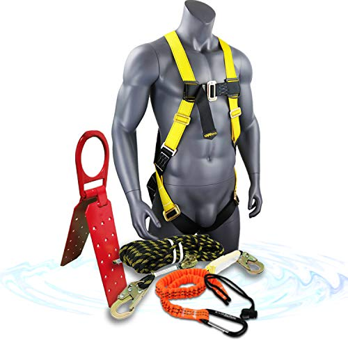 KwikSafety (Charlotte, NC) TSUNAMI KIT 100 ft. Vertical Lifeline Rope, 1D Safety Harness, Tool Lanyard, Roof Anchor External Shock Absorber ANSI OSHA Fall Arrest Restraint Protection Equipment