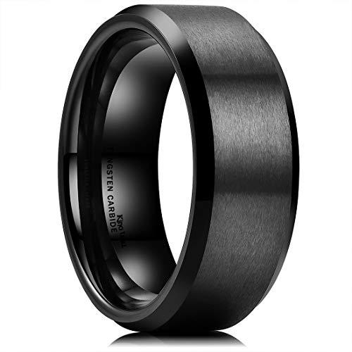 King Will Basic Men Wedding Black Tungsten Ring 8mm Matte Finish Beveled Polished Edge Comfort Fit 9.5