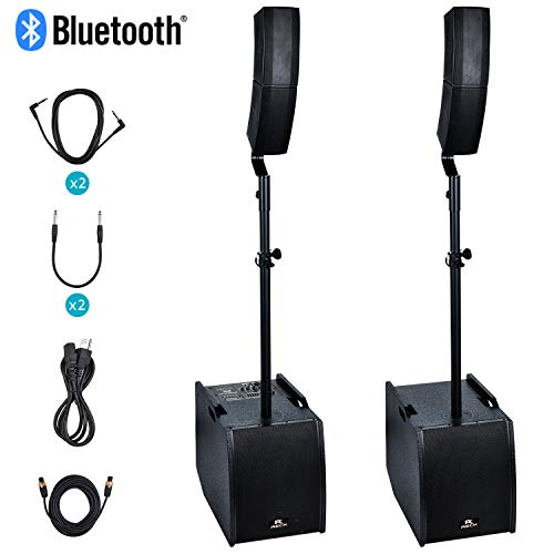 Proreck Club 3200 12-Inch 3000 Watt DJ/Powered PA Speaker System Combo Set with Bluetooth/USB/SD Card (Two Subwoofers and 8X Array Speakers Set)