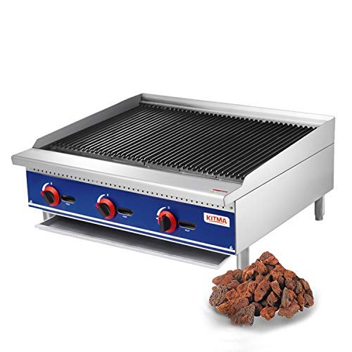 Commercial Countertop Lava Rock Charbroiler - KITMA 36 Inches Natural Gas Char Rock Broiler with Grill - Restaurant Equipment for BBQ, 105,000 BTU