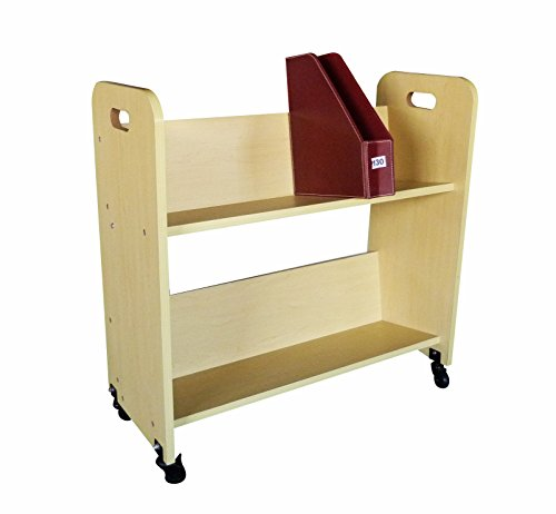 FixtureDisplays Wood Book Cart Library Cart Pew Cart 10969