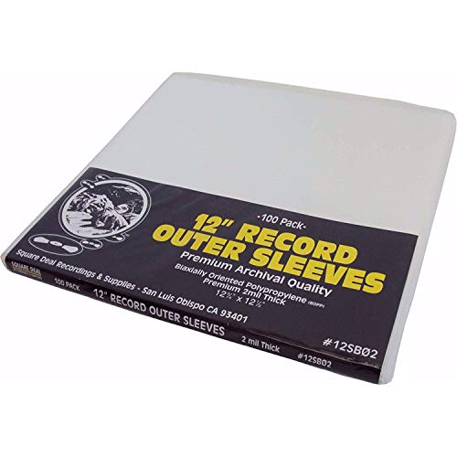 (100) 12' Record Outer Sleeves - Archival Quality, Super Clear BOPP - 12-3/4' x 12-1/2' - 2 Mil Thick - #12SB02