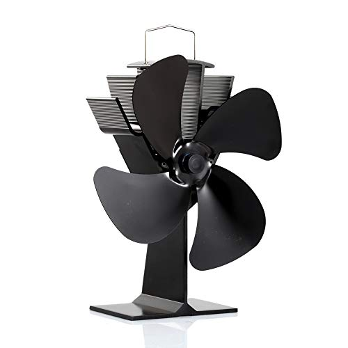 CRSURE Wood Stove Fan, 4-Blade Fireplace Fan Heat Powered, Thermal Fan for Wood Stove/Burner/Wood Burning Stove Top, Eco Friendly Fans Specially for Pellet Stove (SF-444)