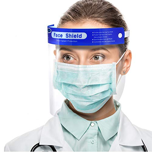 US Stock,10 packSimsii Face Shields, Reusable Clear double side Anti-fog,Thickness 0.25mm, General Use Visor, Splashproof Windproof Dustproof, Protect Eyes and Faces for Adults and Kits