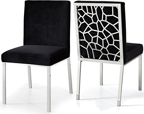 Meridian Furniture Opal Collection Modern | Contemporary Velvet Upholstered Dining Chair with Sturdy Metal Legs and Metallic Geometric Design, Set of 2, Black, 20' W x 24' D x 39.5' H