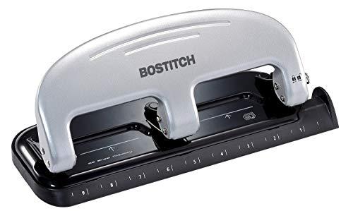 Bostitch inPRESS 20 Reduced Effort Three-Hole Punch, Silver, Black (2220)