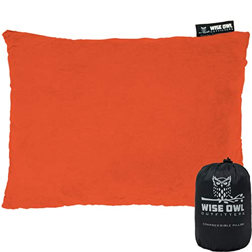 Wise Owl Outfitters Camping Pillow Compressible Foam Pillows – Use When Sleeping in Car, Plane Travel, Hammock Bed & Camp – Adults & Kids - Compact Small & Large Size - Portable Bag - LG Org