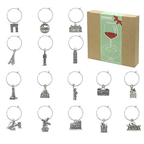 Wine Glass Charms Markers Tags Identification,Wine Charms for Stem Glasses,Wine Bachelorette Tasting Party Favors Decorations,World Travel Themed Set of 16