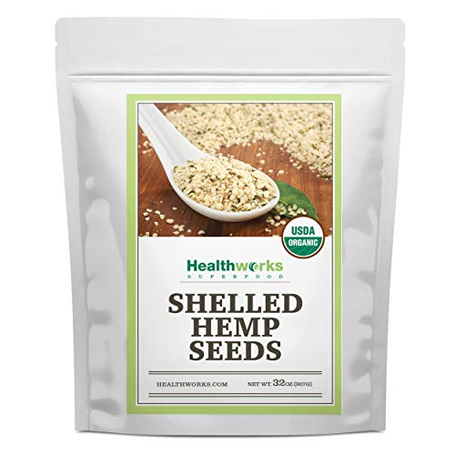 Healthworks Shelled Hemp Seeds Organic (32 Ounces / 2 Pounds) | Premium & All-Natural | Canadian or European Sourced | Contains Omega 3 & 6, Fiber and Protein | Great with Shakes, Smoothies & Oatmeal