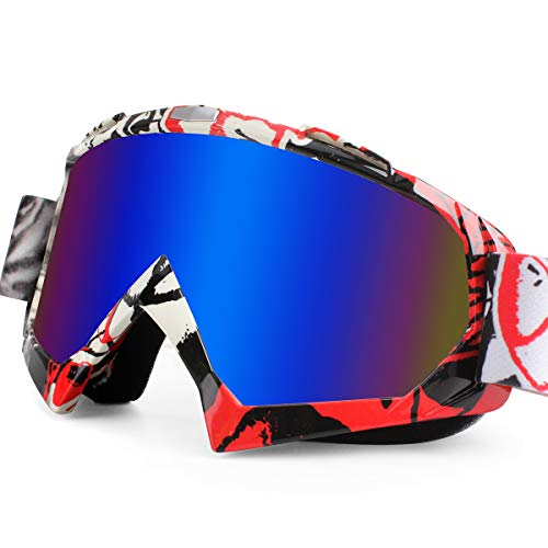 BATFOX Motorcycle ATV Goggles Dirt Bike Motocross Safety ATV Tactical Riding Motorbike Glasses Goggles for Men Women Youth Fit Over Glasses UV400 Protection Shatterproof(Red blue) …