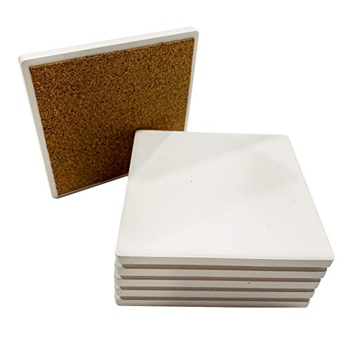 SJT ENTERPRISES, INC. Absorbent Stone Coaster Blanks for Crafts, 4-inch, White with Cork Back, Decorate Your Own Coaster DIY Project (6-Pack) (SJT00094)…