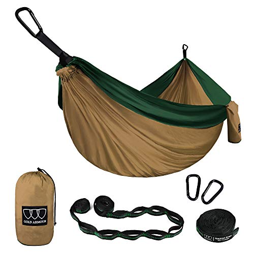 Gold Armour Camping Hammock - Extra Large Double Parachute Hammock (2 Tree Straps 16 Loops,10 ft Included) USA Brand Lightweight Nylon Mens Womens Kids, Camping Accessories Gear (Khaki/Dark Green)