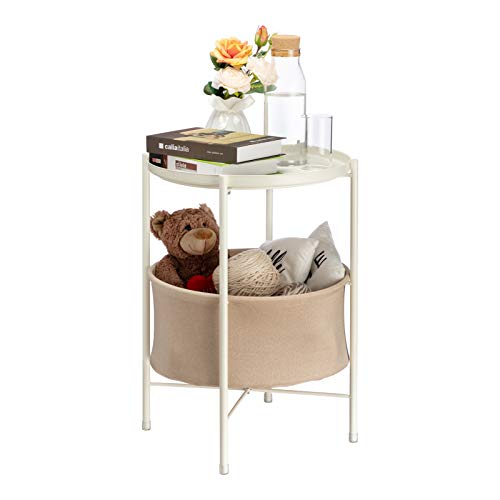 HollyHOME 2-Tier Round Sofa End Table, Accent Metal Basket Table, Anti-Rust Coffee Table, Modern Tray Side Table Nightstand with Fabric Cloth Storage Basket, (D) 16.54' x(H) 23.74', White and Grey