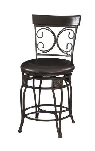 Powell Big and Tall Back Scroll Counter Stool, Seat Height: 24', Dark Bronze