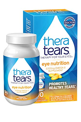 TheraTears 1200mg Omega 3 Supplement for Eye Nutrition, Organic Flaxseed Triglyceride Fish Oil and Vitamin E, 90 Count