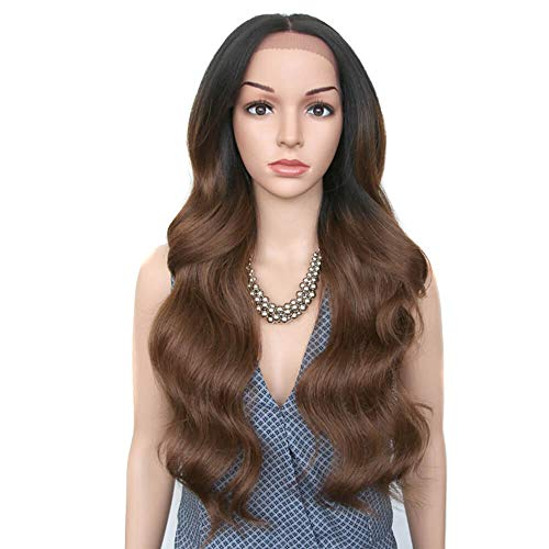 JOEDIR 26' Big Curly Wavy Free Part Lace Frontal Wigs With Baby Hair Hight Temperature Synthetic Human Hair Feeling Wigs For Black Women 180% Density Wigs Ombre Color 200g(TT1B/30)