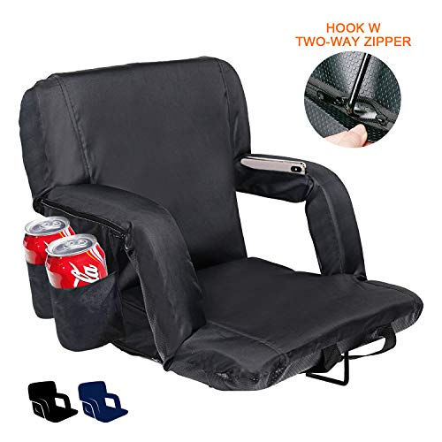 XGEAR Upgrade Reclining Stadium Seat, Portable Bleacher Chair with Extra Thick Padded Cushion, Hook w/Two-Way Zipper, Back and Armrest Support, 4 Pockets, Cup Holder (Black, 24.8' Extra Wide)