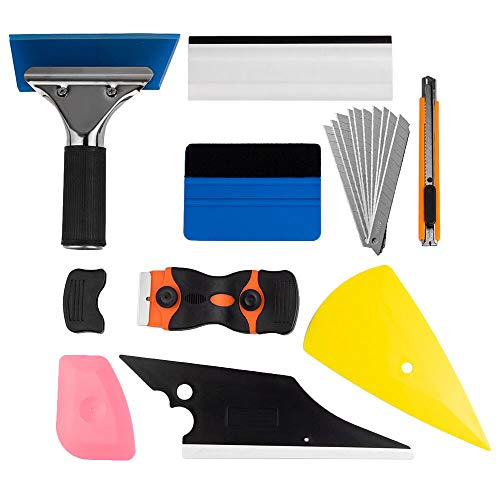 zhuohua Window Tint Application Tools 1 Set, 9 PCS Window Tint Tools for Vehicle Film Including Window Squeegee, Scraper, Utility Knife and Blades