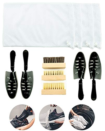 Sneaker and Shoe Cleaning Kit Laundry System, for Washing Machine - Includes Shoe Wash Bag, Premium Cleaning Brush and Adjustable Length Shoe Tree. (4 Wash Bag + Complete Kit)