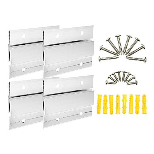 BIGTEDDY - 4' French Cleat Picture Hangers Hardware Kit Mount Aluminum Z Bar Clips Hanging Mounting Bracket for Mirror Photo Shelf and Cabinet ( 4 Pairs )