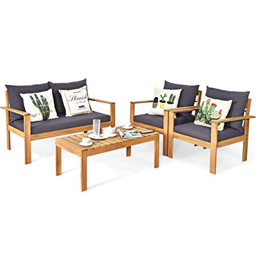 Tangkula Outdoor 4-Piece Acacia Wood Chat Set, 4 Seater Acacia Wood Conversation Sofa and Table Set with Water Resistant Cushions, Teak Finished (1, Grey)