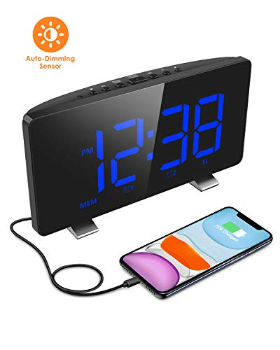 Digital Alarm Clock, ELEGIANT Alarm Clocks for Bedrooms with FM Radio, Dual Alarms, 6.7'' LED Screen, USB Port for Charging, 4 Brightness, 12/24H, Automatic Dimmer, Snooze Digital Clock for Kid Senior