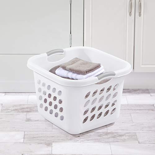 Sterilite 12178006 1.5 Bushel/53 Liter Ultra Square Laundry Basket, White Basket w/ Titanium Inserts, Pack of 6