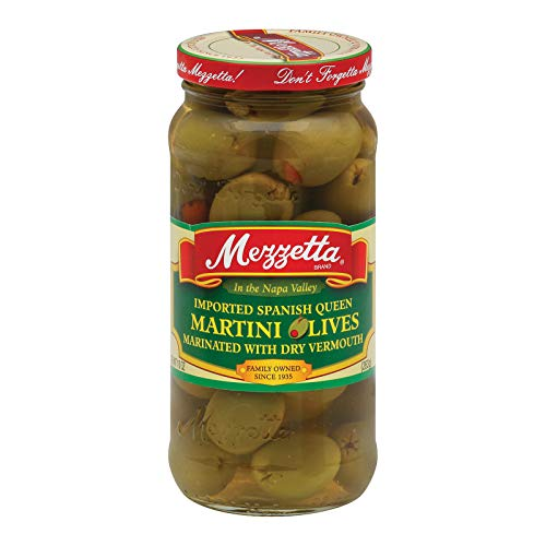 Mezzetta Imported Spanish Queen Martini Olives Marinated with Dry Vermouth - 10 oz