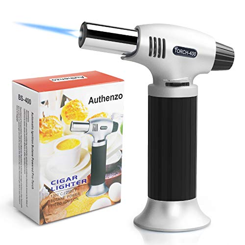 Authenzo Kitchen Butane Torch Lighter (Butane Gas Not Included,Black)
