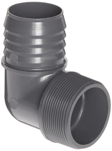 Spears 1413 Series PVC Tube Fitting, 90 Degree Elbow, Schedule 40, Gray, 1' Barbed x NPT Male