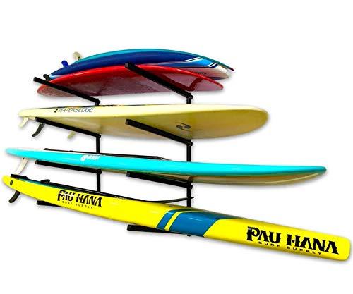 StoreYourBoard 4 Paddleboard Storage Rack, Adjustable Wall Mounted Garage Organizer, Standup Holds SUPs and Kayaks